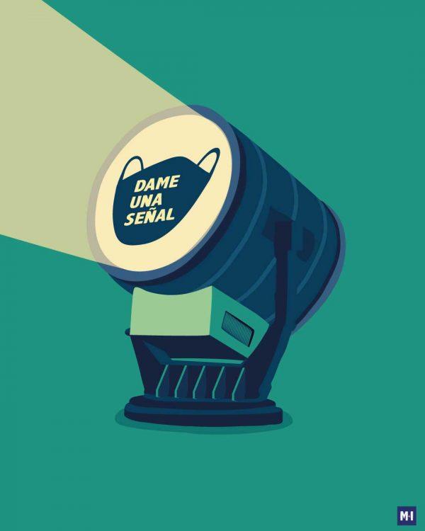 ilustración señal música ilustrada mujer de verde